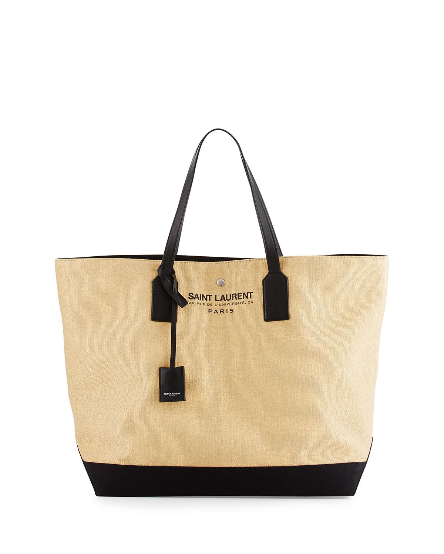 Large Beach Raffia Shopping Tote Bag, Natural
