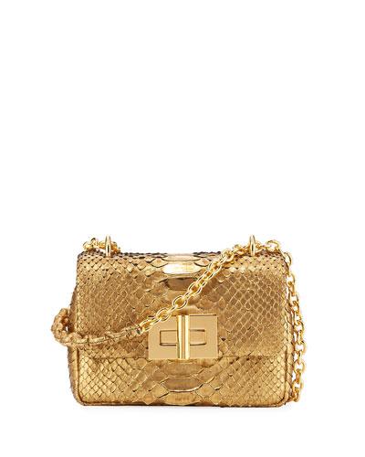 Natalia Metallic Python Chain Shoulder Bag