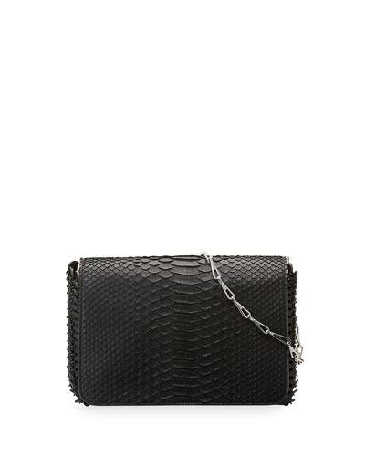 Small Python Shoulder Bag, Black