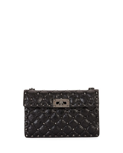 Rockstud Quilted Leather Crossbody Bag, Black