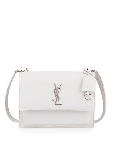 Monogram Sunset Medium Satchel Bag, White