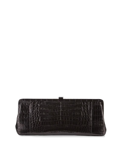 Small Frame Crocodile Clutch Bag, Black Shiny