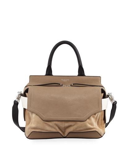 Pilot Suede & Leather Satchel Bag, Brown