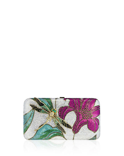 Floral Crystal-Embellished Rectangle Clutch Bag