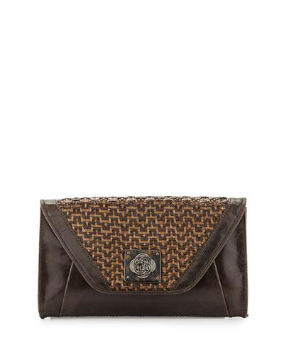 Bali Cordoba Basketweave Leather Clutch Bag, Java Mist