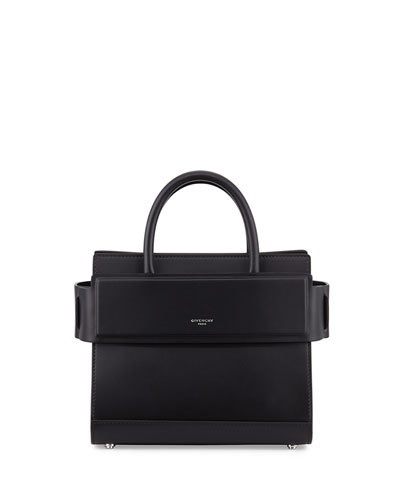 Horizon Mini Leather Satchel Bag, Black