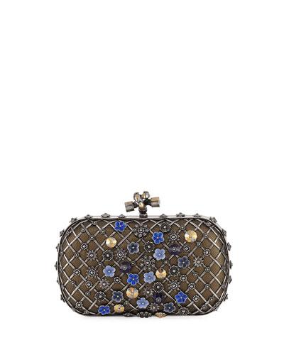 Metal Lattice Mini Knot Clutch Bag, Gray