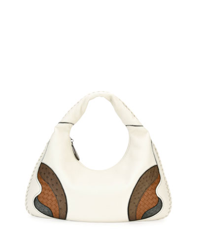 Veneta Patchwork Large Hobo Bag, White/Brown