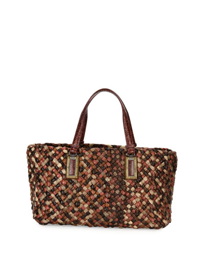 Lido Snakeskin & Lizard Tote Bag with Pouch, Red