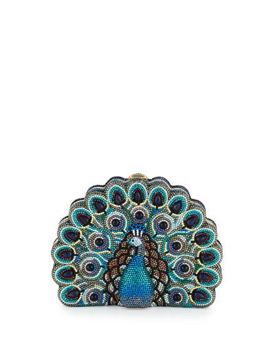 Peacock Crystal Minaudiere, Multicolor