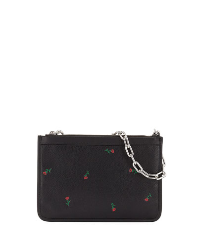 Attica Embroidered Leather Shoulder Bag, Black