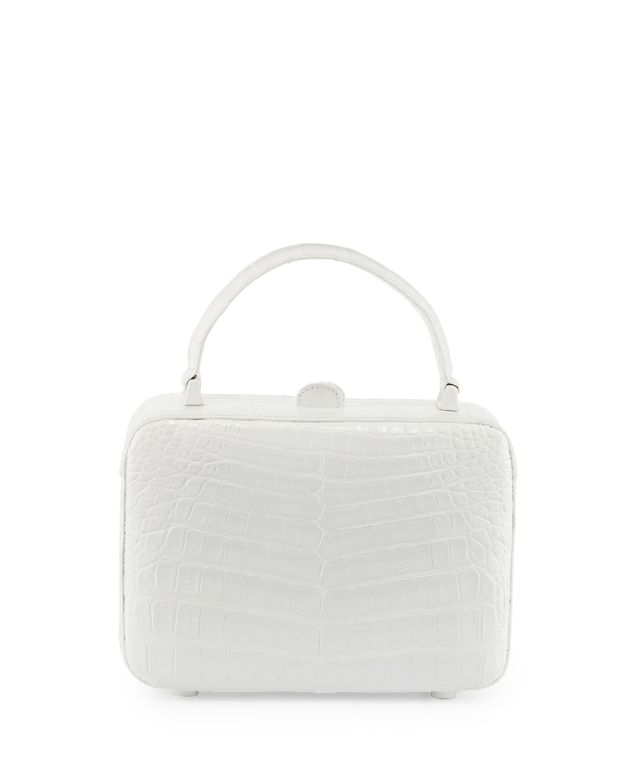 Crocodile Box Crossbody Bag, White