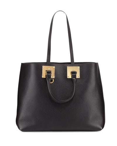 Soft East-West Tote Bag, Black