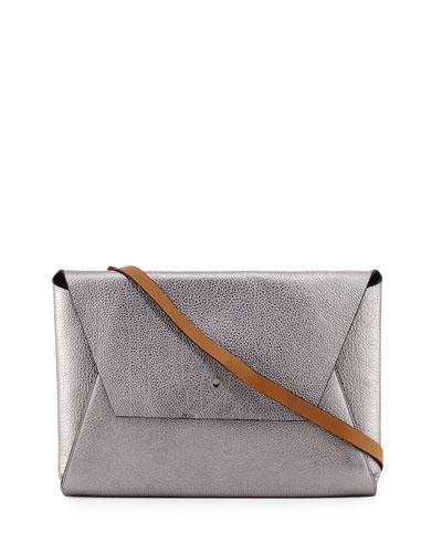 Metallic Large Envelope Clutch Bag, Silver