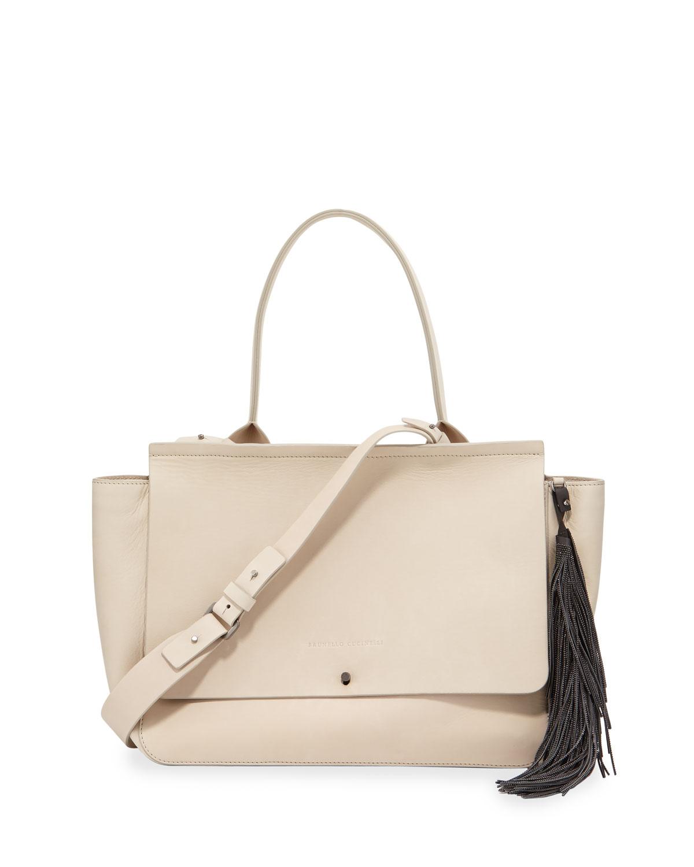Monili-Fringe Nubuck Tote Bag, White