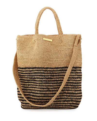 Striped Woven Straw Beach Tote Bag, Beige
