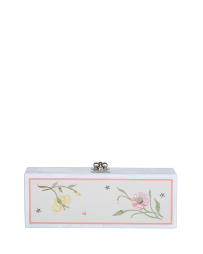 Flavia Jardin Acrylic Clutch Bag, White Pattern
