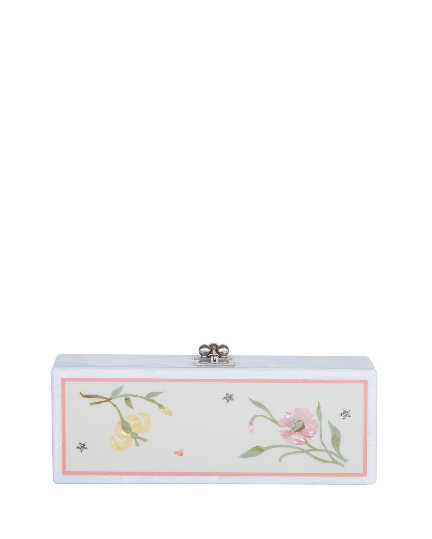 Flavia Jardin Acrylic Clutch Bag, White Pattern