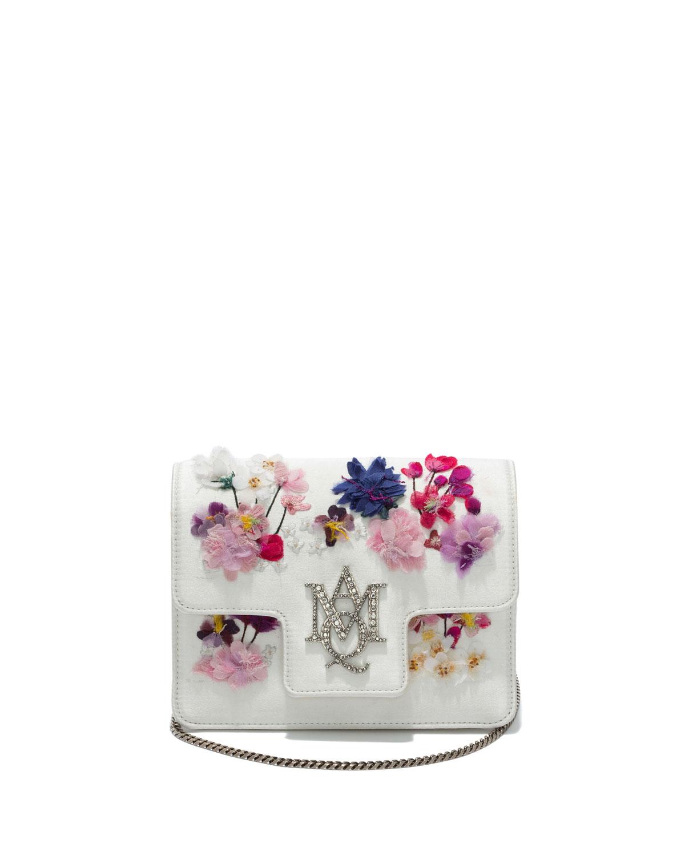 Flocked Floral Chain Shoulder Bag, White