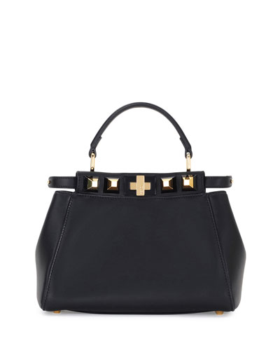 Peekaboo Mini Studded Leather Satchel Bag