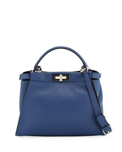 Peekaboo Medium Leather Satchel Bag, Blue