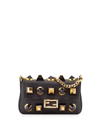 Micro Baguette Studded Leather Bag, Black