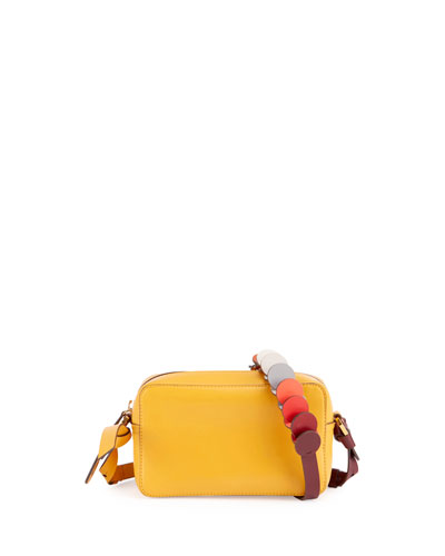 Crossbody Mini Circle Leather Shoulder Bag, Honey