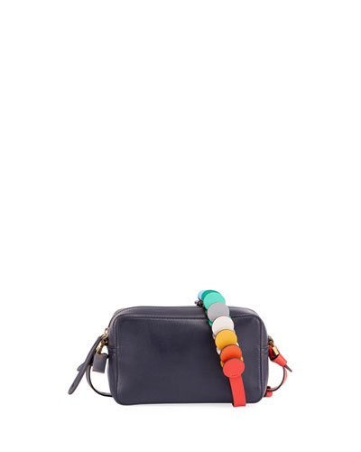 Crossbody Mini Circle Leather Shoulder Bag, Indigo