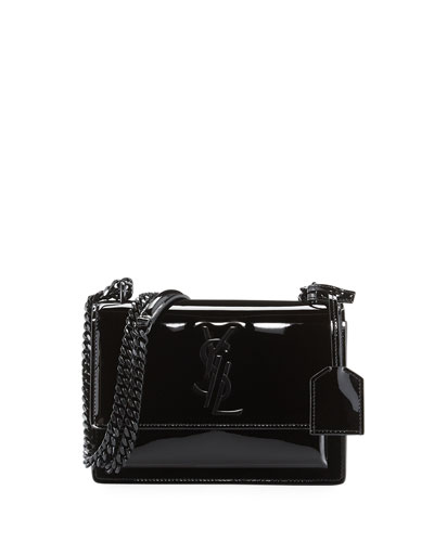 Monogram Sunset Small Patent Chain Bag, Black