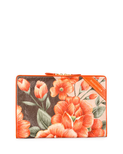 Blanket Floral-Print Pouch, Orange