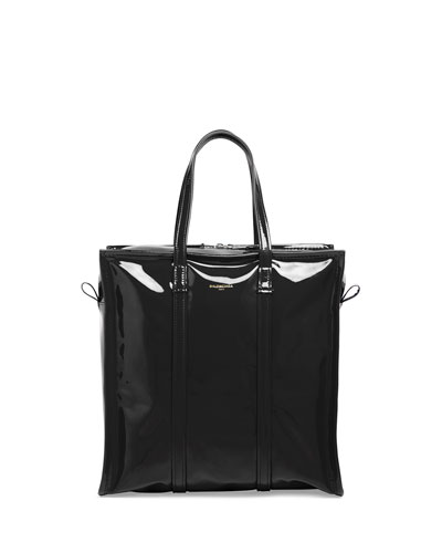 Bazar Small Patent Leather Shopper Tote, Black