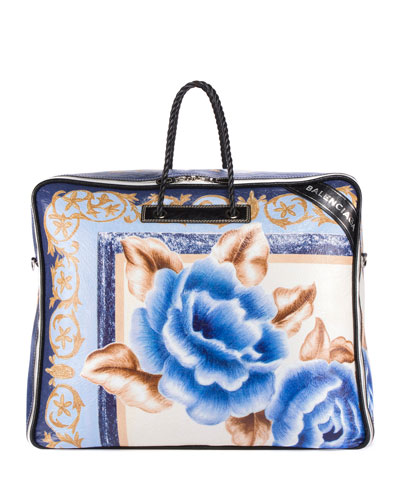 Blanket Square XL AJ Floral Tote Bag, Blue/Black