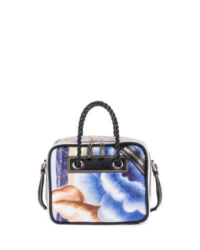 Blanket Square Small AJ Floral-Print Tote Bag, Blue/Black