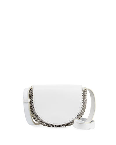 Leather Half-Moon Mini Crossbody Bag, White