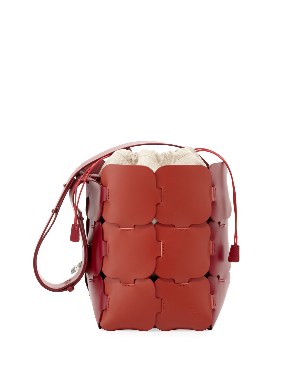 Large Leather Hobo Mini Bag, Pink/Red