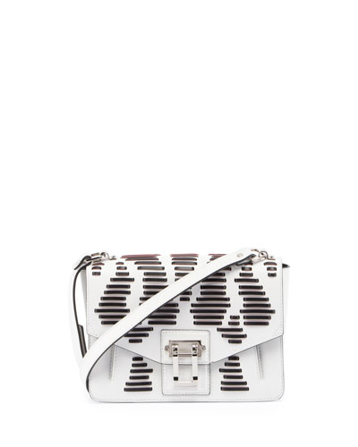 Hava Laced Leather Shoulder Bag, White/Black