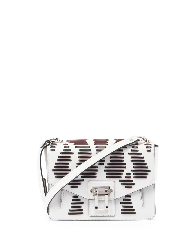 Hava Laced Leather Shoulder Bag, White/Black