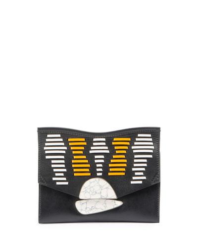 Small Curl Clutch Bag, Black/White