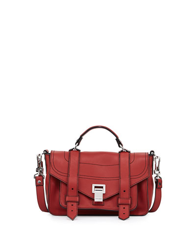 PS1 Tiny Leather Satchel Bag, Brick