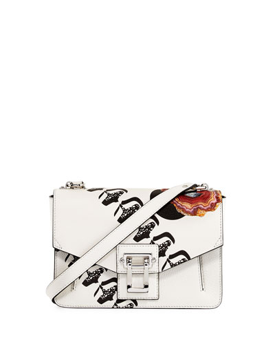 Hava Printed Leather Chain Shoulder Bag, White