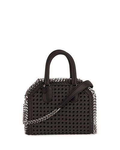 Wicker Falabella Tote Bag, Black