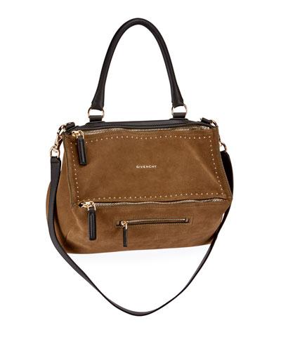 Pandora Medium Suede Top-Handle Bag, Khaki