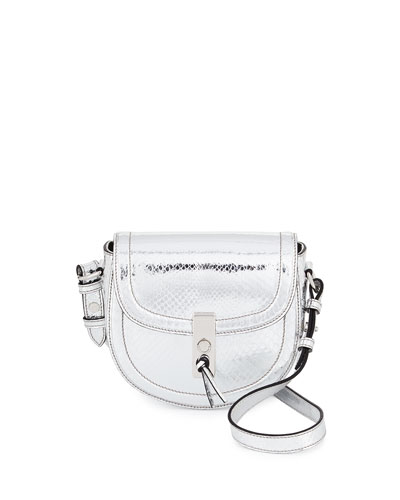 Ghianda Mini Metallic Python Saddle Bag, Silver
