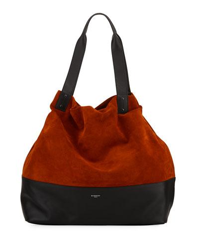 Pyramid Wave Calf Leather Tote Bag, Dark Orange