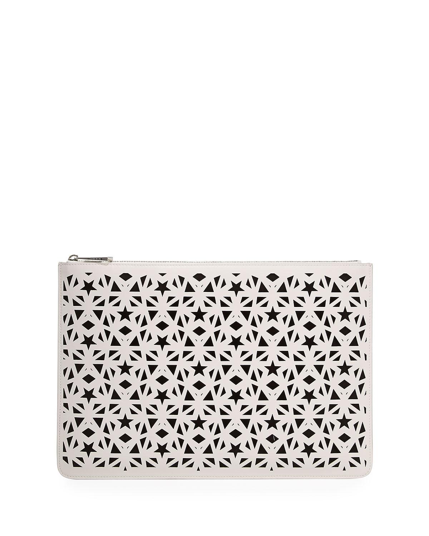Pandora Star Large Pouch Bag, White/Black