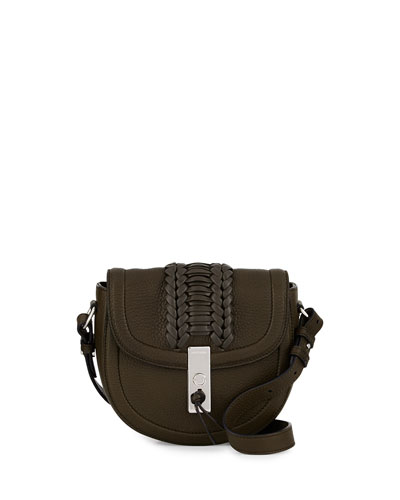 Ghianda Woven Leather Saddle Mini Bag, Olive
