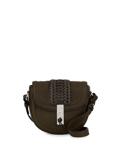 Ghianda Mini Woven Leather Saddle Bag, Olive