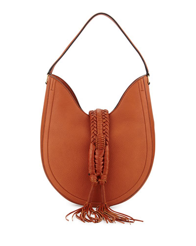 Ghianda Woven Leather Hobo Bag, Saddle