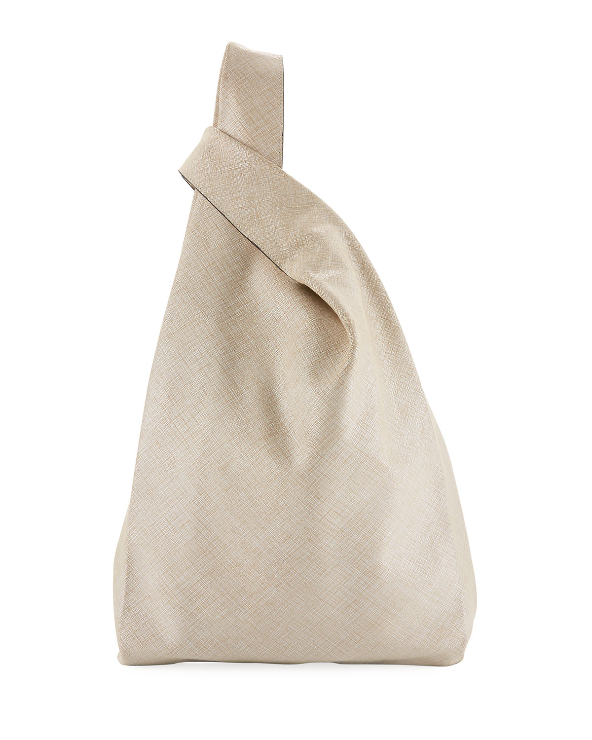 Embossed Crosshatch Leather Shopper Tote Bag, White