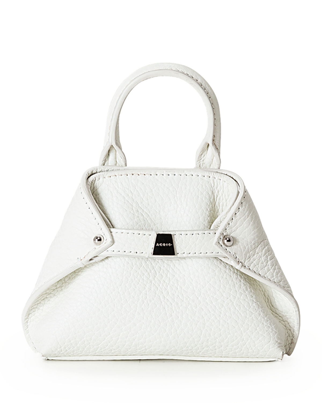 Ai Nano Grained Leather Messenger Bag, White